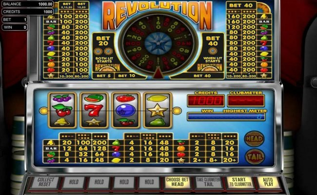 Top Bet featuring the Video Slots Revolution with a maximum payout of $1,000