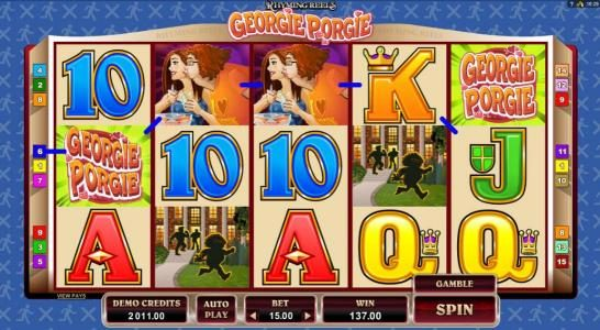 Rose Slots featuring the Video Slots Rhyming Reels - Georgie Porgie with a maximum payout of $7,500