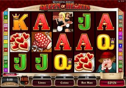 Royal House featuring the Video Slots Rhyming Reels - Queen Of Hearts with a maximum payout of $2,000