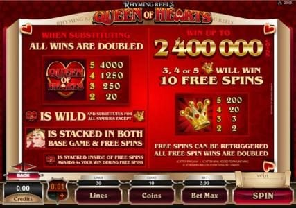 Captain Cooks featuring the Video Slots Rhyming Reels - Queen Of Hearts with a maximum payout of $2,000