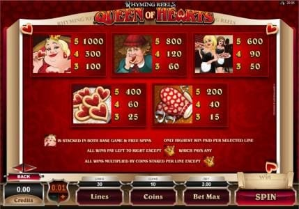 Mega Casino featuring the Video Slots Rhyming Reels - Queen Of Hearts with a maximum payout of $2,000
