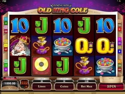 Play slots at Sin Spins: Sin Spins featuring the Video Slots Rhyming Reels - Old King Cole with a maximum payout of $12,500
