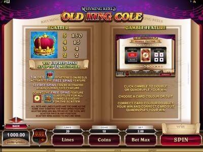 Rhyming Reels - Old King Cole :: 3 or more scatter symbols anywhere on reels activates the free spins feature