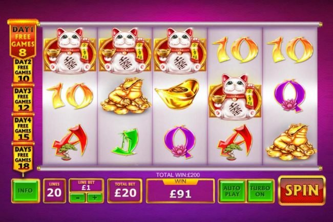 Fortune Cat scatter four of a kind triggers a 200.00 payout.