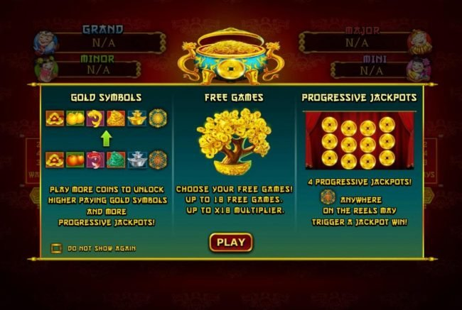 Game features include: Gold Symbols, Free Games and Progressive Jackpots.