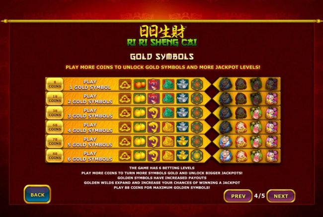 Gold Symbols - Play more coins to unlock gold symbols and more jackpot levels.