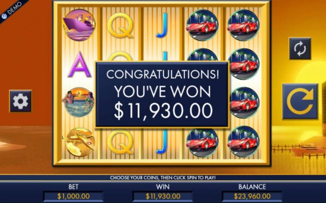My Win 24 featuring the Video Slots Rich Man's Toys with a maximum payout of $50,000