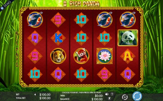 An Asian themed main game board featuring five reels and 1024 winning combinations with a $2,000 max payout