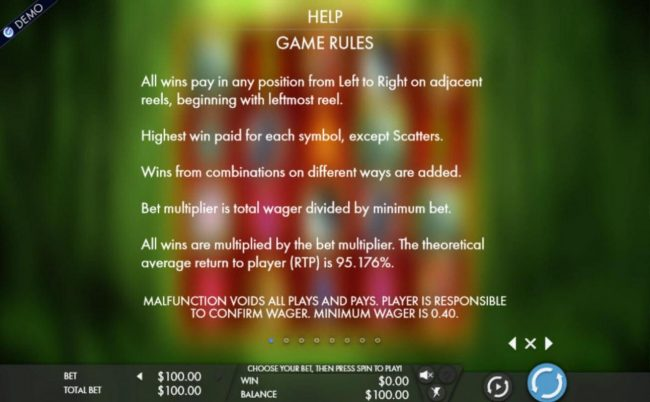 General Game Rules - The theoretical average return to player (RTP) is 95.176%.