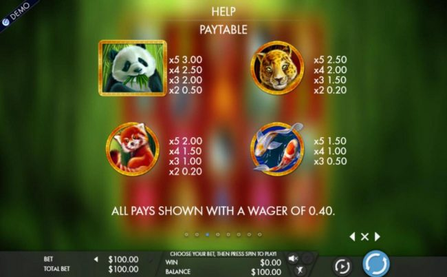 High value slot game symbols paytable featuring Asian animal inspired icons.
