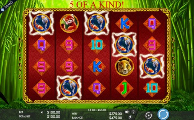 Koi Fish five of a kind triggers a 365.00 payout.