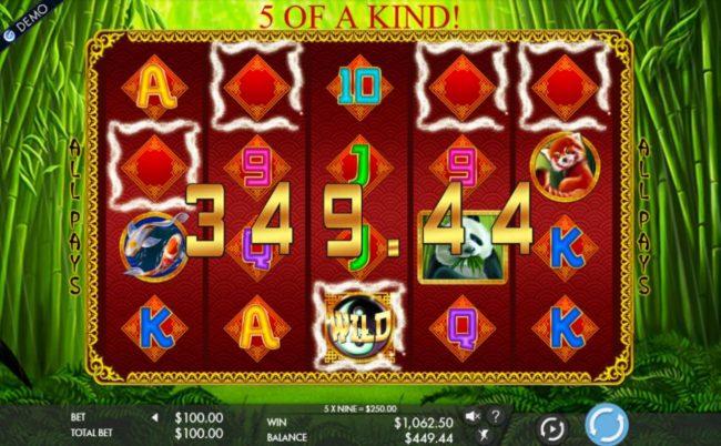 Wild Yin-Yang symbol triggers winning symbol combinations leading to a 1,062.50 jackpot award.