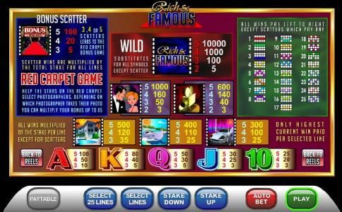 payline diagrams, bonus scatter, wild and slot symbols paytable