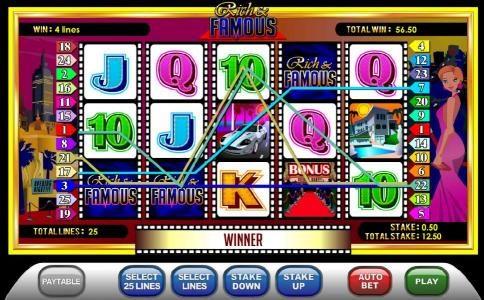 three wild symbols combine to trigger 56.50 coin jackpot