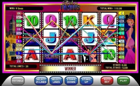 BGO Vegas featuring the Video Slots Rich & Famous with a maximum payout of 10000x