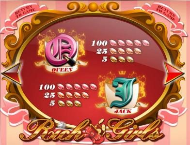 Rich Girls :: slot game queen and jack symbols paytable
