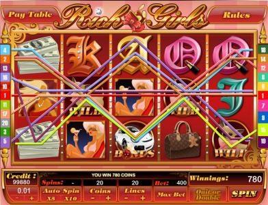 Rich Girls :: multiple winning paylines triggers a 780 coin jackpot