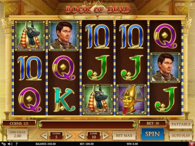 Main game board featuring five reels and 10 paylines with a $500,000 max payout