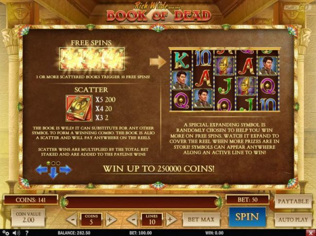 The scatter symbol is represented by the book and 3 or more scattered books trigger 10 free spins. The book is wild! It can substitute for any other symbol to form a winning combo.