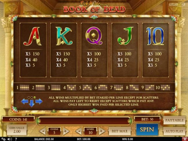 Low value game symbols paytable and payline diagrams 1 to 10