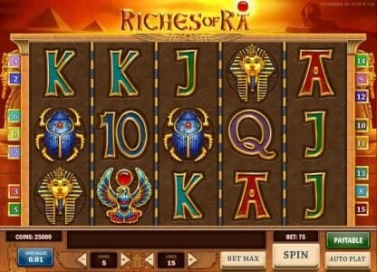 Play slots at Play Jango: Play Jango featuring the Video Slots Riches of Ra with a maximum payout of $625