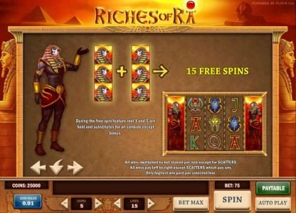Play Club Casino featuring the Video Slots Riches of Ra with a maximum payout of $625