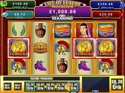 Zinger Spins featuring the Video Slots Riches Of Rome with a maximum payout of $40,000