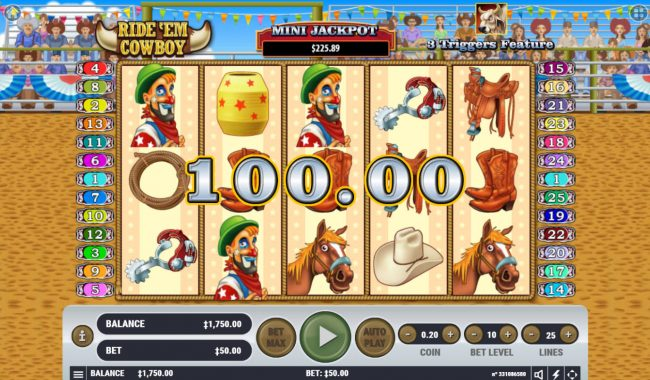 Play slots at Campeon: Campeon featuring the Video Slots Ride 'em Cowboy with a maximum payout of $2,500,000