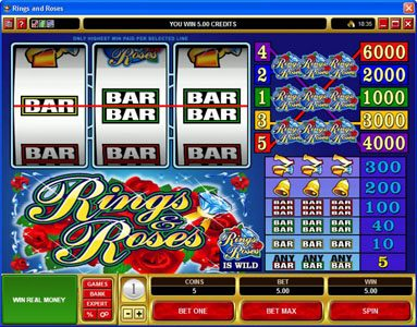 Nostalgia Casino featuring the video-Slots Rings & Roses with a maximum payout of $150,000