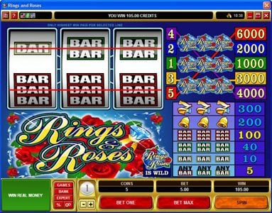 Triple Aces featuring the video-Slots Rings & Roses with a maximum payout of $150,000