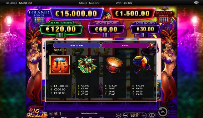 Boaboa featuring the Video Slots Rio Riches Stacked Up with a maximum payout of $15,000