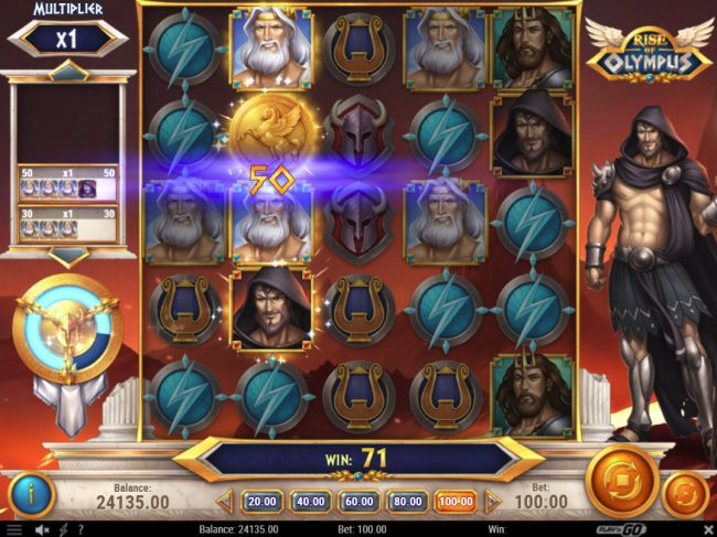 Slotty Vegas featuring the Video Slots Rise of Olympus with a maximum payout of $1,000,000