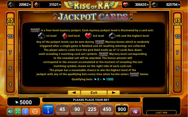 Rise of Ra :: Jackpot Cards Progressive Rules