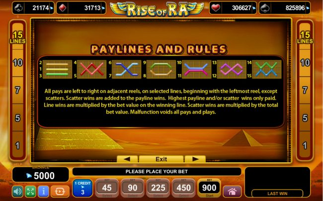 Rise of Ra :: Paylines 1-15