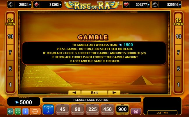 Rise of Ra :: Gamble Feature Rules