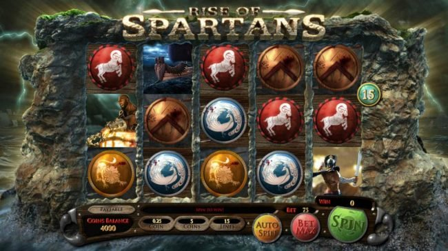 Jumba Bet featuring the Video Slots Rise of Spartans with a maximum payout of $10,000