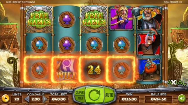 Casino Superlines featuring the Video Slots Rise of the Vikings with a maximum payout of $8,000