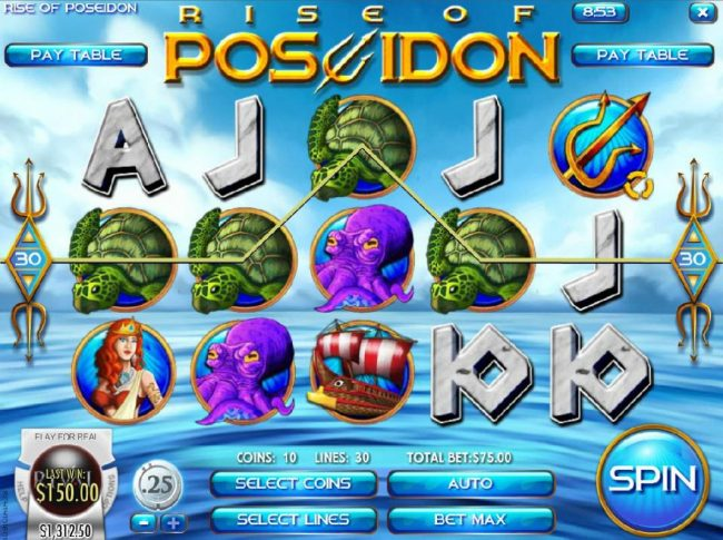 Slots Capital featuring the Video Slots Rise of Poseidon with a maximum payout of $25,000
