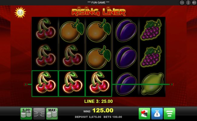 Casimba featuring the Video Slots Rising Liner with a maximum payout of $100,000