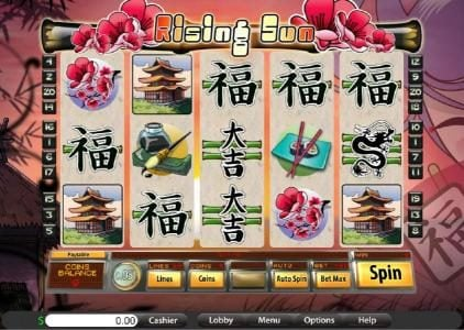 Lake Palace featuring the Video Slots Rising Sun with a maximum payout of $7,500