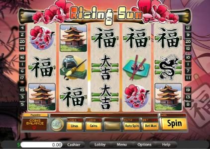 Platinum Reels featuring the Video Slots Rising Sun with a maximum payout of $7,500