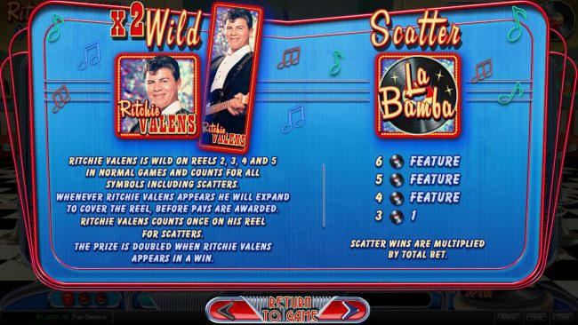 Palace of Chance featuring the Video Slots Ritchie Valens La Bamba with a maximum payout of $250,000