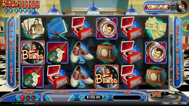 Play slots at Miami Bingo: Miami Bingo featuring the Video Slots Ritchie Valens La Bamba with a maximum payout of $250,000