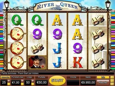 River Queen :: Main game board featuring five reels and 50 paylines with a $5,000 max payout