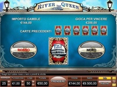River Queen :: Gamble feature is available after each winning spin. Select color to play.