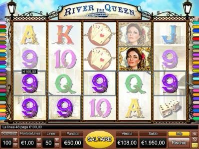 River Queen :: Five of a kind awards a ?100.00 line pay