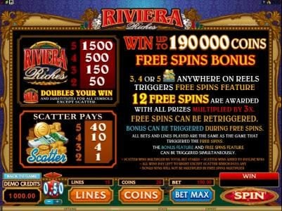 Zodiac featuring the Video Slots Riviera Riches with a maximum payout of $300,000