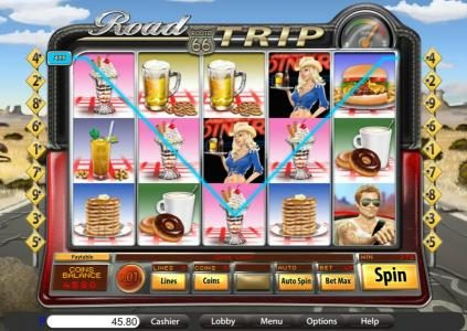 Roadhouse Reels featuring the Video Slots Road Trip with a maximum payout of $9,375