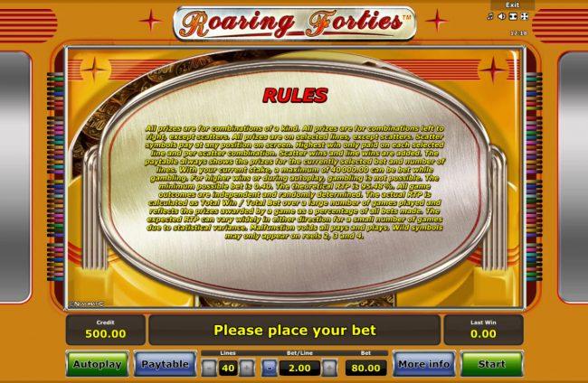 Roaring Forties :: General Game Rules