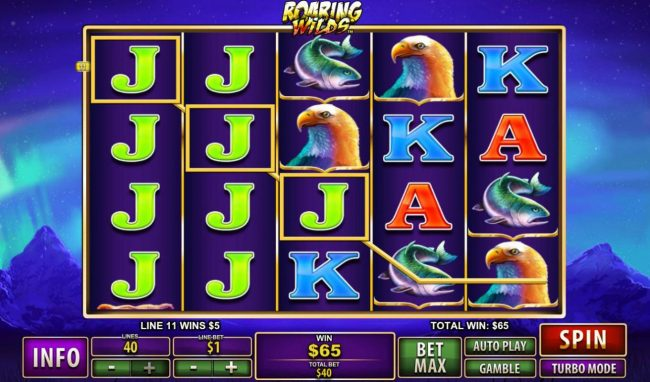 Vernons featuring the Video Slots Roaring Wilds with a maximum payout of $50,000